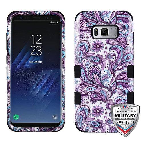 Samsung S8 Purple European Flowers_Black TUFF Hybrid Phone Protector Cover