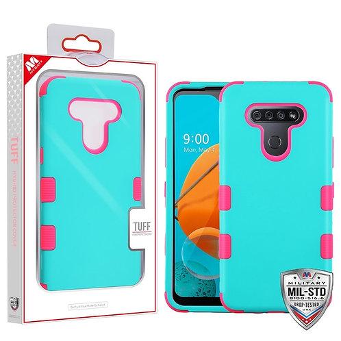 LG K51 - Mybat Rubberized Teal Green_Electric Pink TUFF Hybrid Phone Protector C