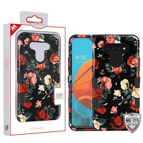 LG K51 - Mybat Red and White Roses_Black TUFF Hybrid Protector Cover [Military-G