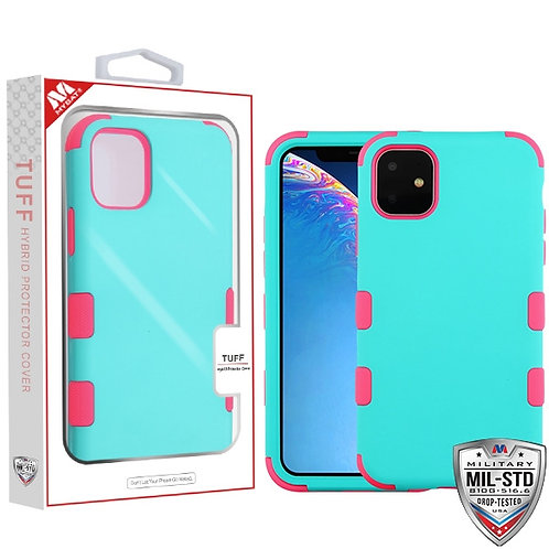 IP11RHPCTUFFSO048_Rubberized Teal Green_Electric Pink TUFF Hybrid Phone Protecto