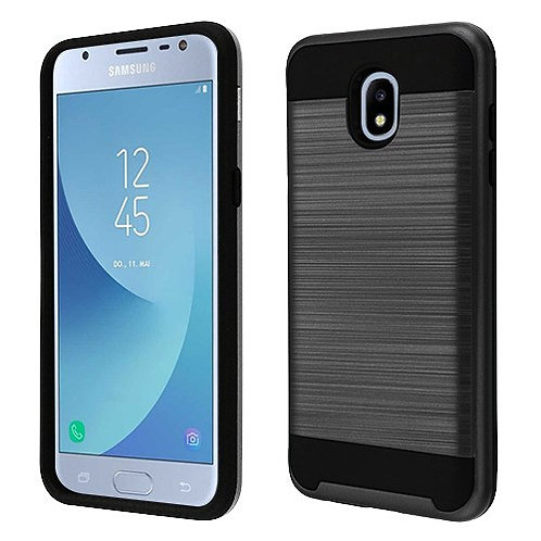 Samsung Galaxy J3(2018) Black Brushed Hybrid Protector Cover