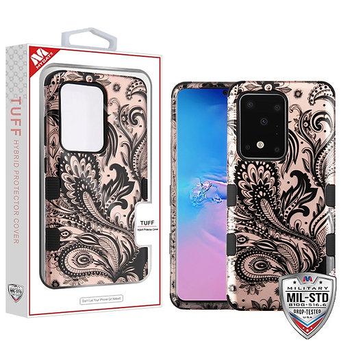 Phoenix Flower (2D Rose Gold)/Black TUFF Hybrid Phone Protector Cover [Military-