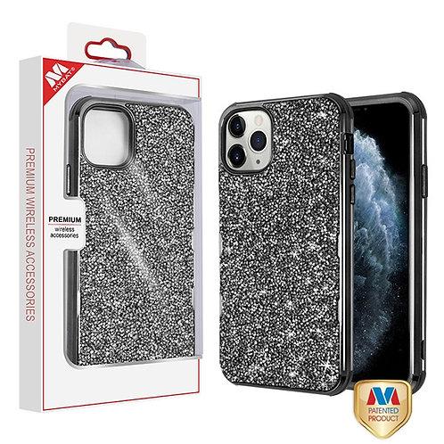 iphone 11 pro(5.8) Electroplated Black_Black Mini Crystals TUFF Kleer Hybrid Cas
