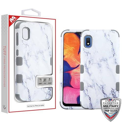 Samsung Galaxy A10E White Marbling_Iron Gray TUFF Hybrid Protector Cover