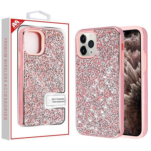 APPLE iPhone 11 Pro Max - Mybat Electroplated Pink-Pink Encrusted Rhinestones Hy
