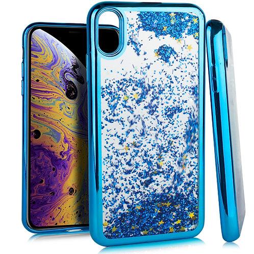 iPhone XS Max 6.5 CHROME Glitter Motion Case Blue