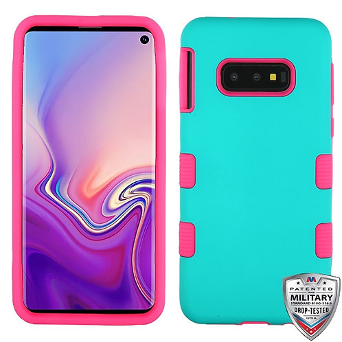 Samsung S10e Rubberized Teal Green_Electric Pink TUFF Hybrid Phone Protector