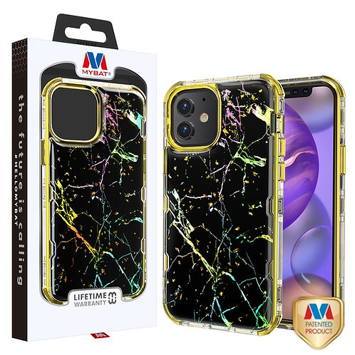 MyBat TUFF Kleer Hybrid Case for Apple iPhone 12 mini (5.4) - Black Marbling - E