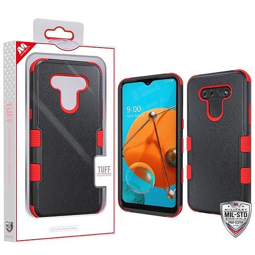 LG K51 - Mybat Natural Black_Red TUFF Hybrid Phone Protector Cover [Military-Gra