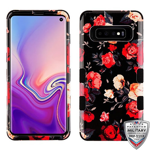 Samsung S10 Roses_Black TUFF Hybrid Protector Cover