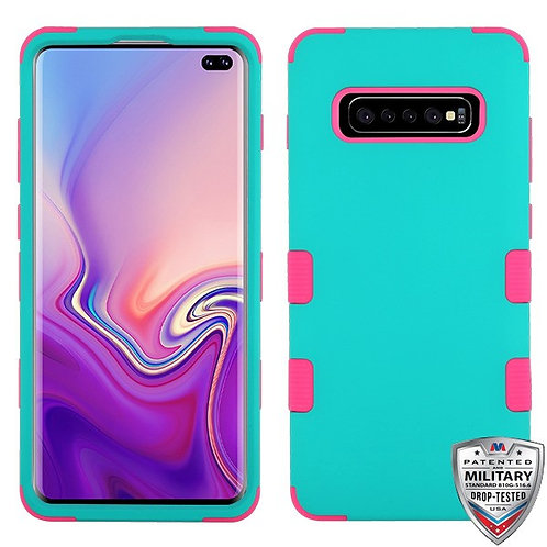 Samsung Galaxy S10 Plus Rubberized Teal Green_Pink TUFF Hybrid Protector Cover