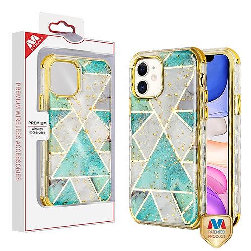iphone 11(6.1) Green Marble_Electroplating Gold TUFF Kleer Hybrid Case