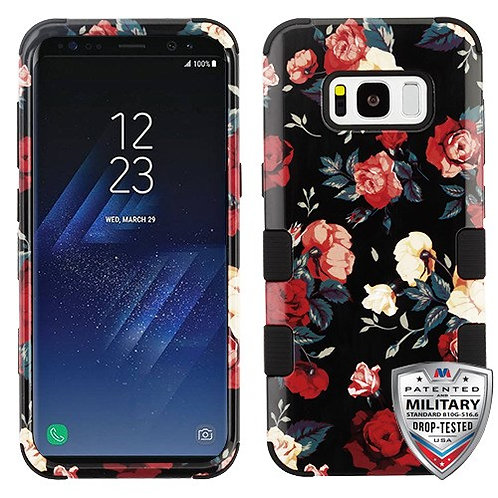 Samsung S8 Red and White Roses_Black TUFF Hybrid Phone Protector Cover