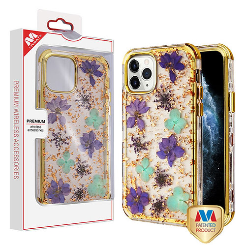 iphone 11 pro(5.8) Purple and Green Flowers & Rose Gold Flakes_Electroplating Go