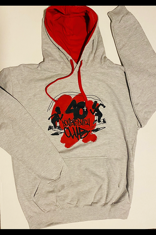 Red and Grey 40+ Hoodie (Unisex)