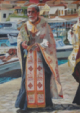 Painting of a Greek priest in ceremonial robes