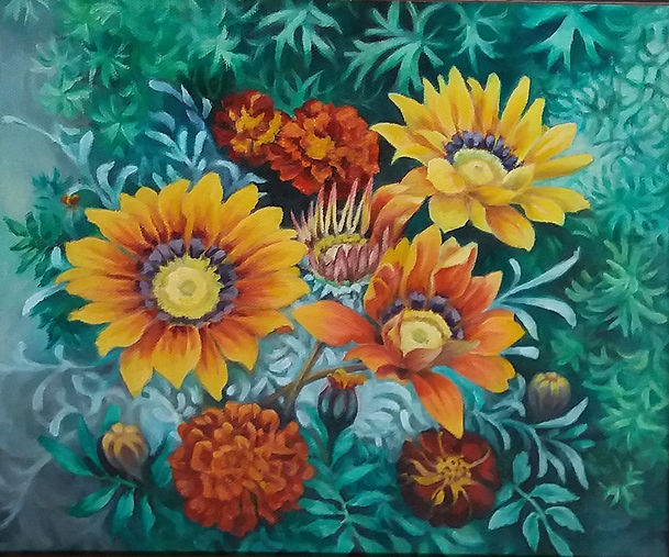 Painting of gazanias and marigold flowers in orange and yellow