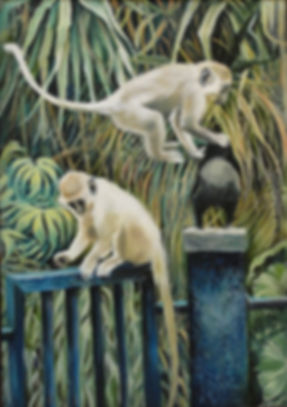 Painting of monkeys in the Gambia