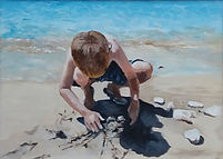 Painting of a small boy on the beach