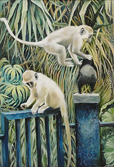 Painting of baby monkeys in the Gambia