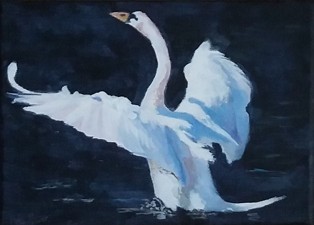 Painting of swan with wings outstretched