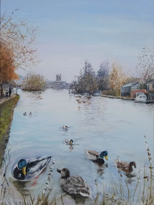 painting of ducks on the Thames at Henley in winter