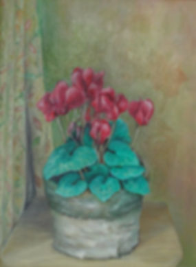 Painting of a pot of cyclamen