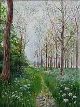Painting of a path through the poplar trees