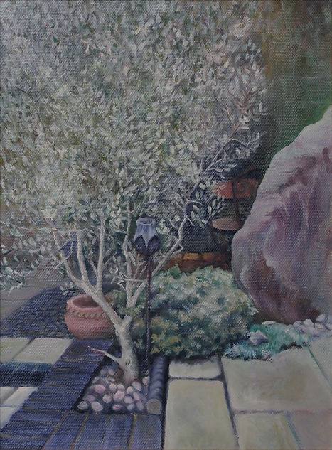 Painting of an olive tree in a garden patio