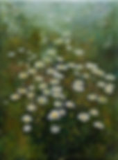 Painting of a meadow fiull of daisies
