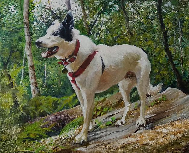 Painting of a happy dog