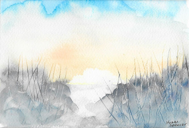 watercolour of sand dunes in the sunlight
