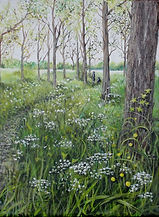 Painting of walking through a poplar wood with spring flowers