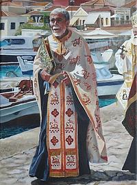 Painting of Greek priest in ceremonial robe