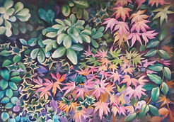 Painting of Autumn leaves, red and green