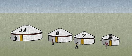 אוהלים מונגולים במגוון גדלים