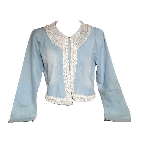 Denim Outer with Pearls and Flowers Accent