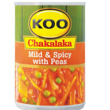 KOO CHAKALAKA MILD&SPICY WITH PEAS 410GR