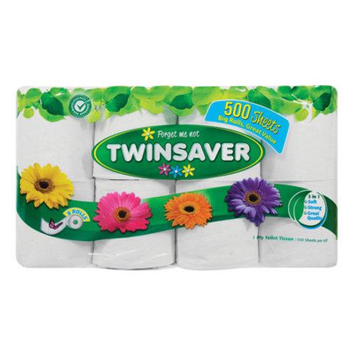 TWINSAVER TOILET ROLL 1PLY WHT 500SH 8EA