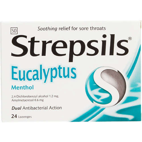 STREPSILS LOZENGES EUCALYP MENTH 24EA