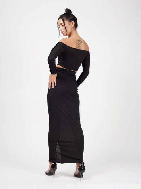 7819a2ebb Aubrie Button Detail Ribbed Crop Top & Maxi Skirt Two Piece Black. £ 30.00. Ribbed  Two Piece Set
