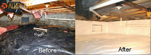 Crawl space moisture barrier.