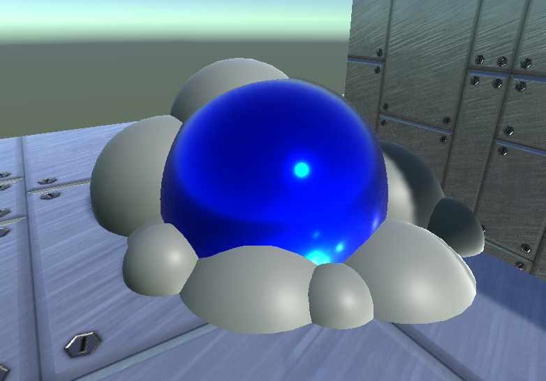 Fake Sphere with tapered-clipping in pile of Real Spheres.