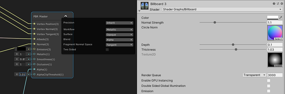 PBR Master & Material Settings for Billboard Shader.