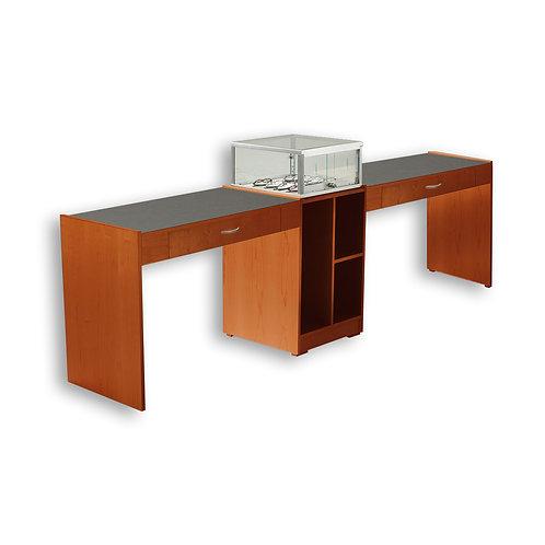 Double Straight Desk with Taboret - Contemporary