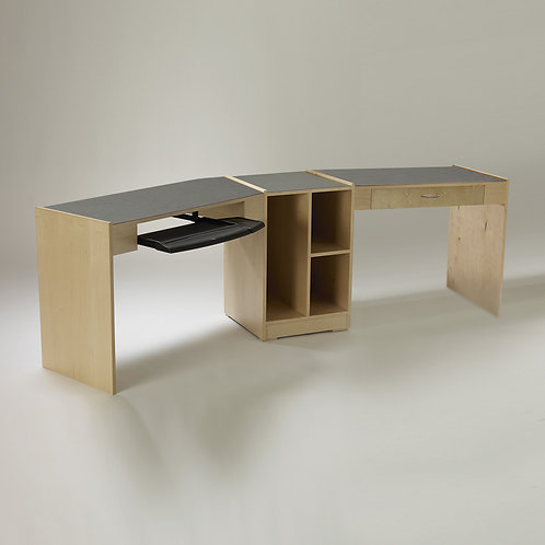 Double Angled Desk with Taboret