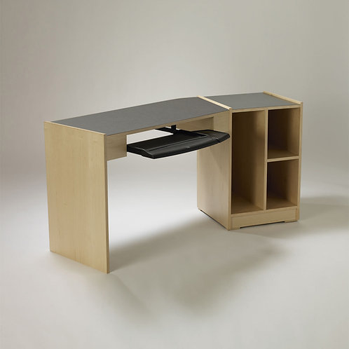 Single Angled Desk with Taboret