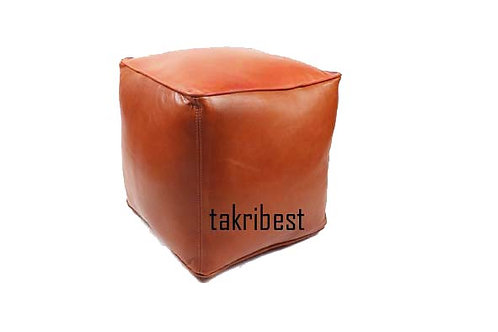 pouffe oval  cuir marron