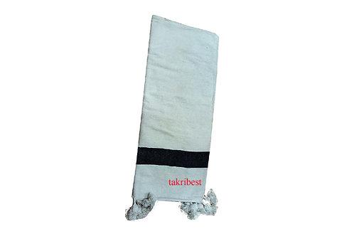 couvre de lit blanc/noir avec pompon