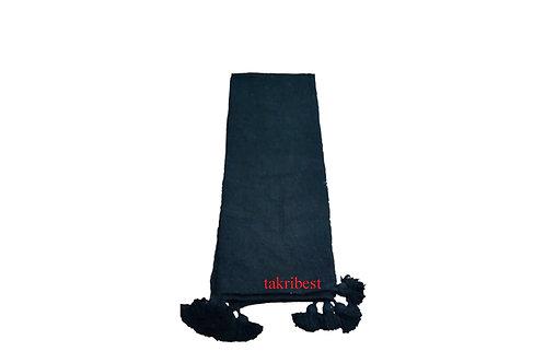 couvre -lit  noir avec pompon